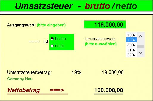 Umsatzsteuerrechner (deutsch)